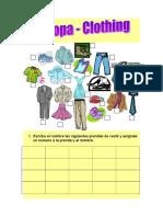 Escribe el nombre las siguientes prendas de vestir y asígnale un número a la prenda y al nombre.doc