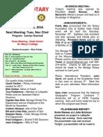 Moraga Rotary Newsletter for November 15, 2016