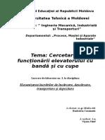 UTM - Cercetarea Funcționării Elevatorului Cu Bandă Și Cu Cupe
