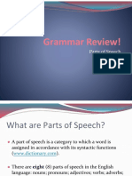 grammar review  power point on parts of speech