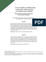 Intentos de Suicidio en Adolescentes de Educacion Media Superior y Su Relación Con La Familia