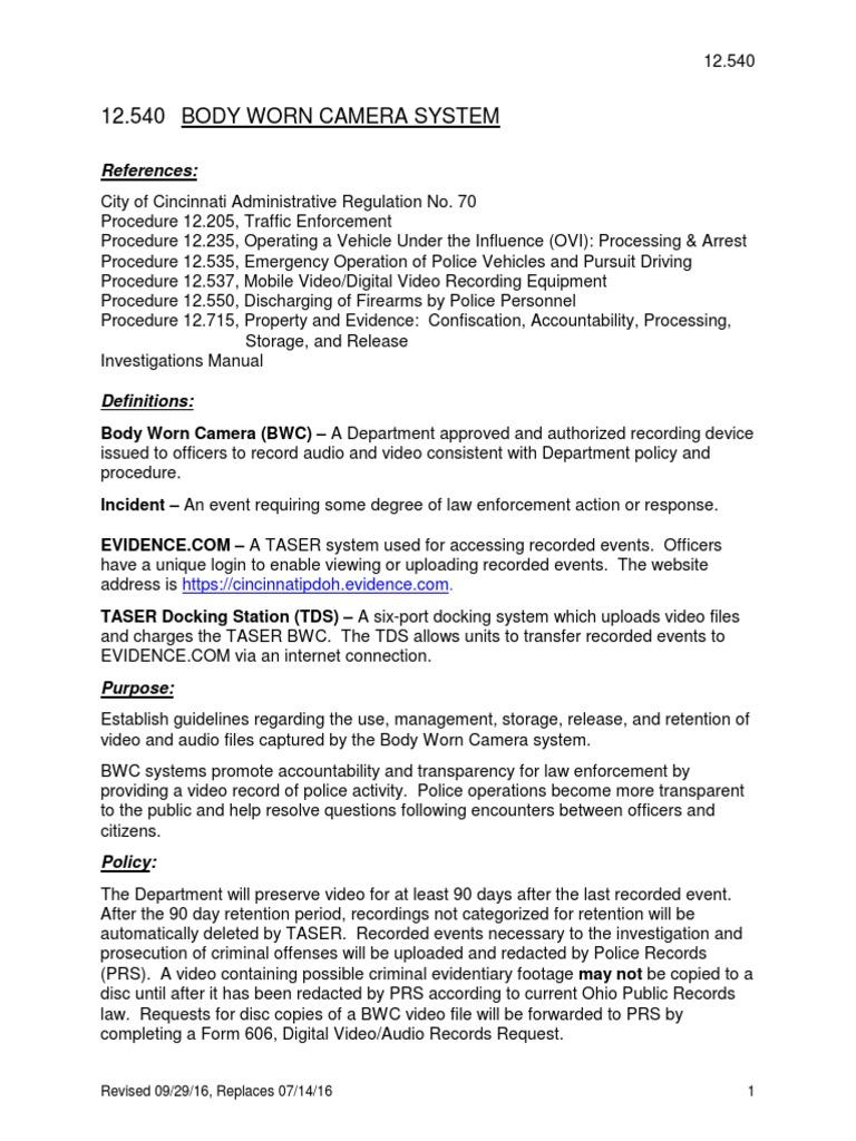 Cincinnati Police Department body-camera policy    Taser