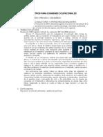 Parametros Para Examenes Ocupacionales