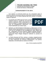 COMUNICADO PNP N° 31 - 2016