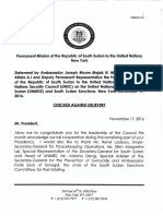 South Sudan's UNSC Statement Against Arms Embargo, Denying Dinka Domination