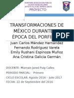 Transformaciones de México Durante La Época Del Porfirito