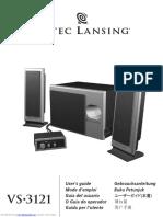 Altec Lansing Vs3121 Speaker System Users Guide