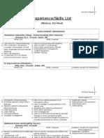 experience skills list for portfolio