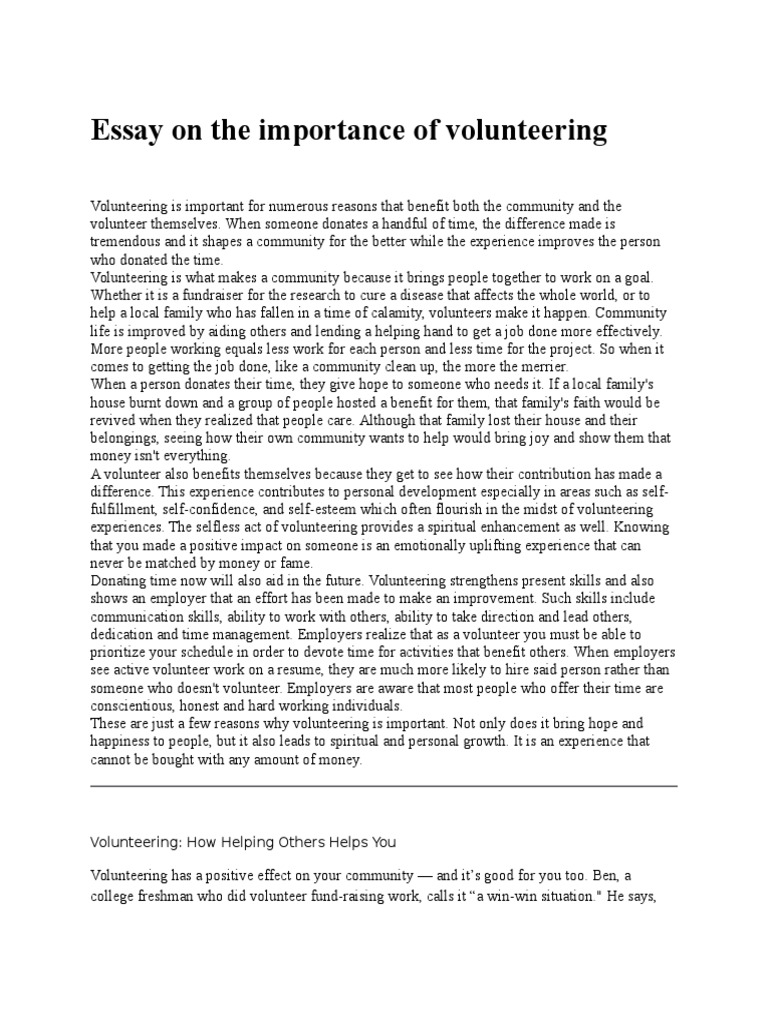 Volunteerism essay