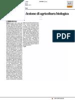 Da oggi tutti a lezione di agricoltura biologica - Il Corriere Adriatico del 17 novembre 2016