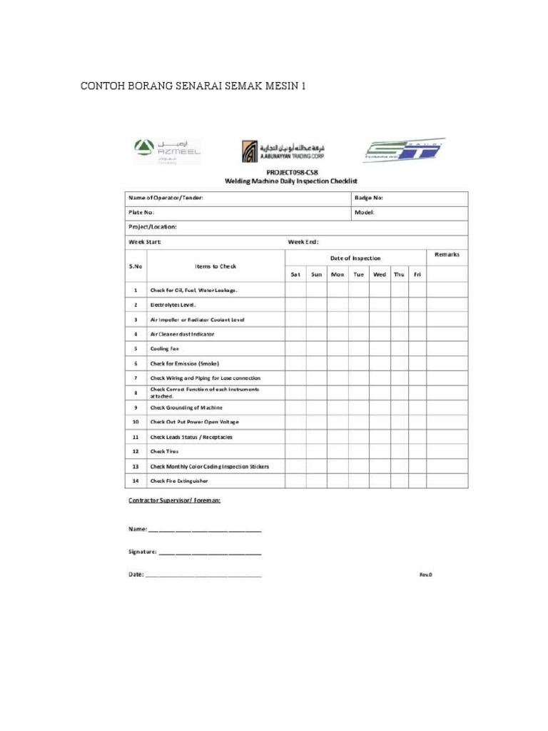 Contoh Borang Senarai Semak Mesin 1 Doc