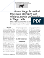 Evaluation of Wagyu for Residual Feed Intake Optimizing Feed Efficiency, Growth, And Marbling in Wagyu Cattle