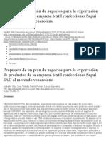 Propuesta de Un Plan de Negocios Para La Exportación de Productos de La Empresa Textil Confecciones Sagui SAC Al Mercado Venezolano