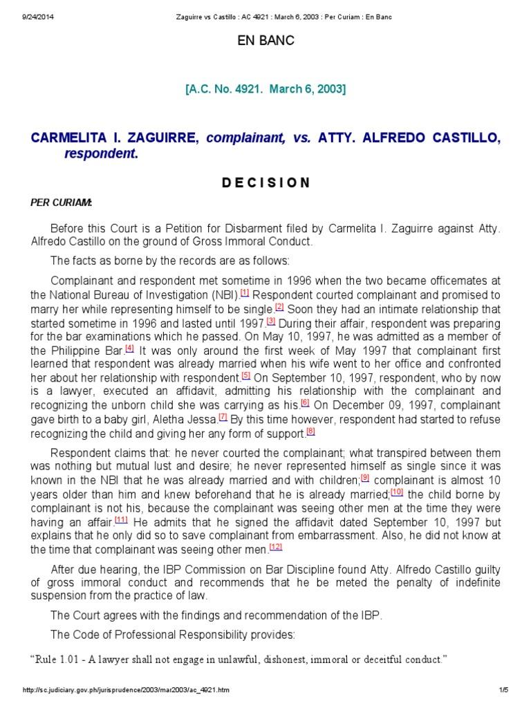 zaguirre vs castillo _ ac 4921 _ march 6, 2003 _ per curiam _ en