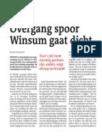 Overgang spoor Winsum gaat dicht
