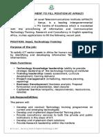 Job Advert_Head Technology Training AFRALTI