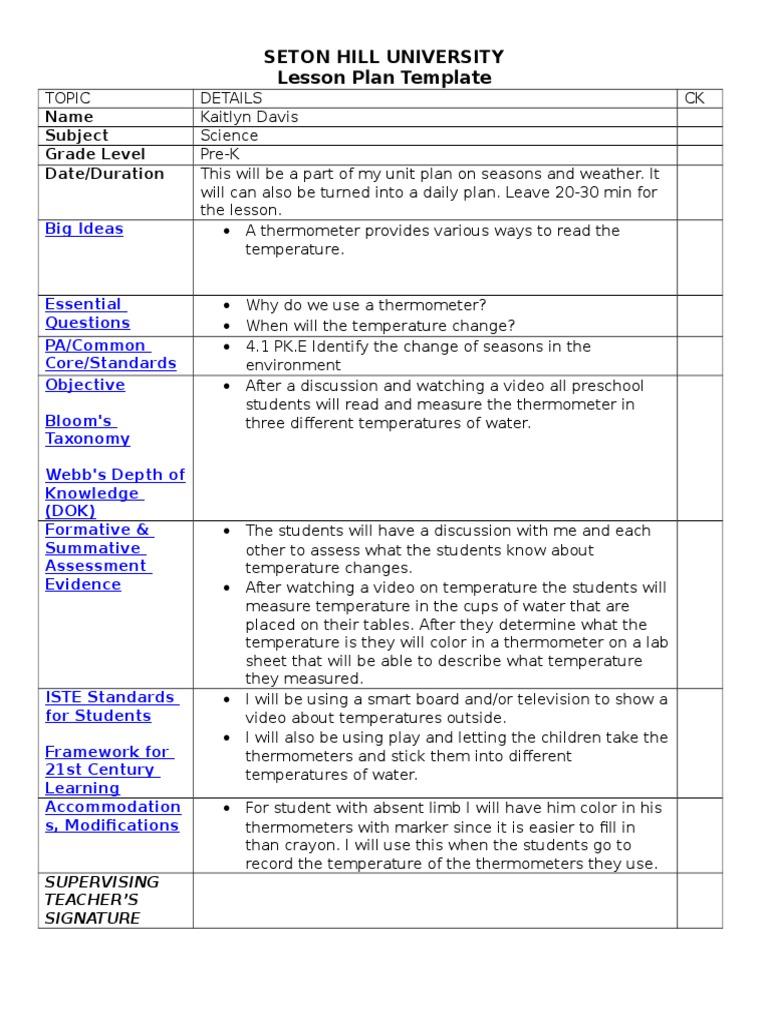 Lesson Plan Template Temperature Thermometer Lesson Plan - University lesson plan template