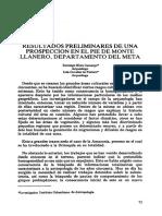 Resultados Preliminares de Propsecciónn en Pie de Monte Llanero