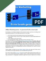 Affiliate Marketing - So generierst Du die ersten Leads