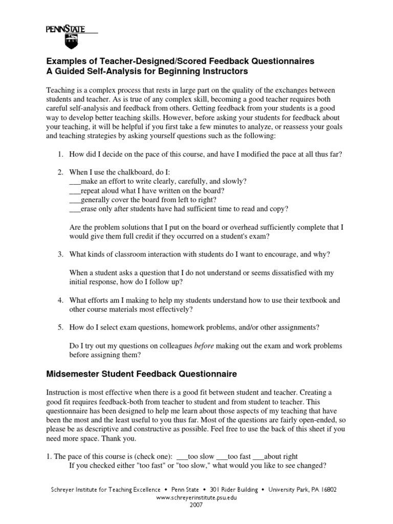 homework questionnaire for teachers