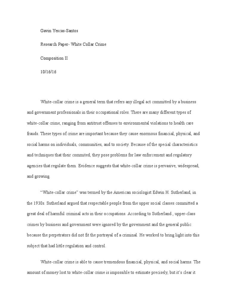 white collar crime research paper