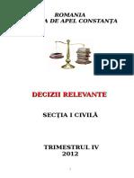 Sectia I Civila -Decizii Relevante Trimestrul IV 2012