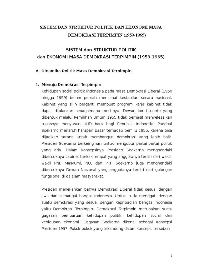 Sistem Dan Struktur Politik Dan Ekonomi Masa Demokrasi Terpimpin 1959 1965 Doc