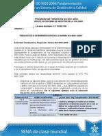 Actividad de Aprendizaje Unidad 3 Requisitos e Interpretacion de La Norma ISO 90012008 Laramie Quintero