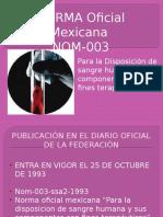 Nom 003 Mexicana Para La Disposicion de Sangre Humana y Sus Componentes