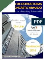 Curso Online Nivelacion y Actualizacion Diseño en Concreto. Noviembre 2016