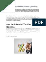 Tasa Interés Nominal y Efectiva