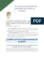 ACV Es La Causa Principal de Discapacidad en Todo El Mundo
