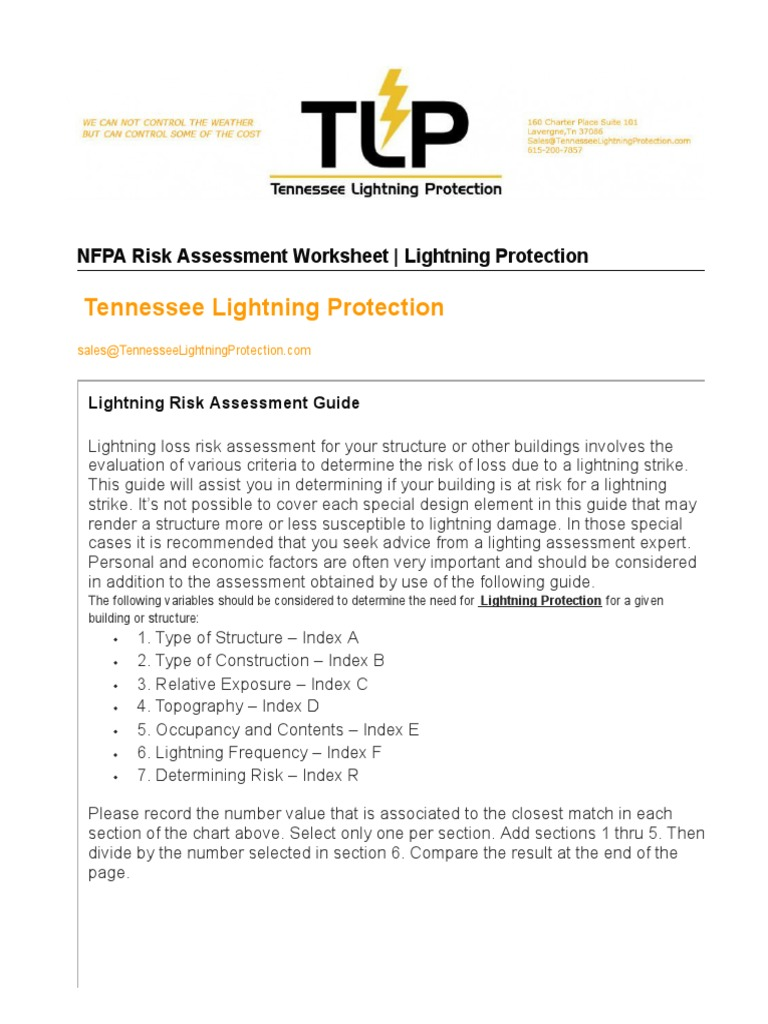 worksheet Risk Assessment Worksheet nfpa risk assessment worksheet tlp tennessee lightning protection risk