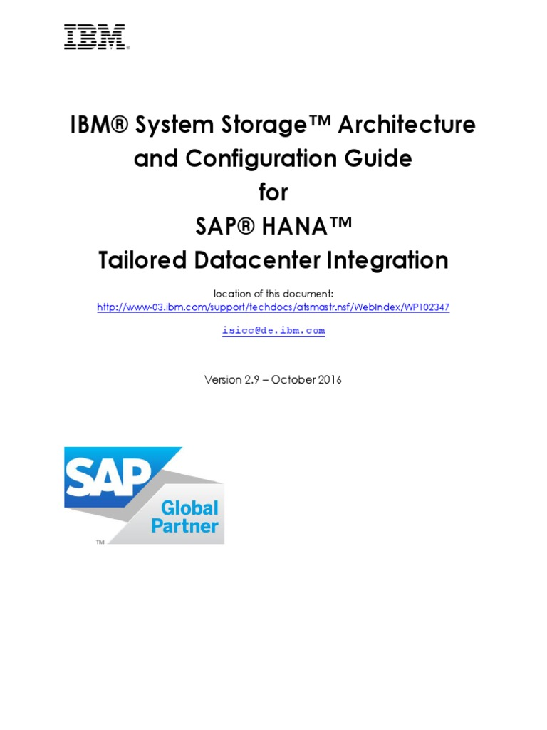 Guide to Integrate IBM System Storage With SAP HANA TDI V2 9