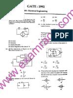 GATE Electrical Engineering 1992