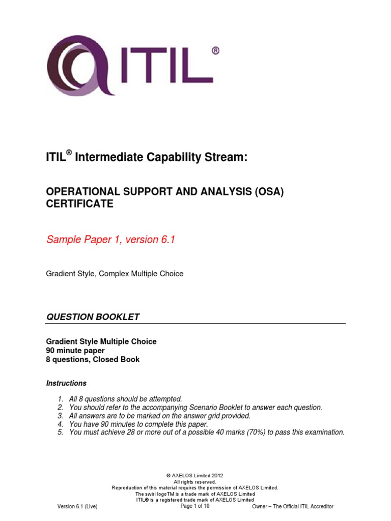Itil Intermediate Capability Osasample1 Question Booklet V61 Itil