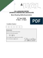 UPC Mock Reading Exam Texts 08-09