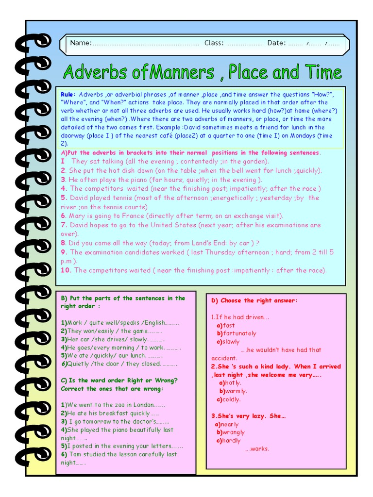 Adverbs Manner Place Time Adverb Rules
