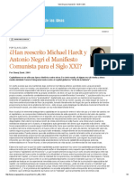 ¿Han reescrito Michael Hardt y Antonio Negri el Manifiesto Comunista para el Siglo XXI?