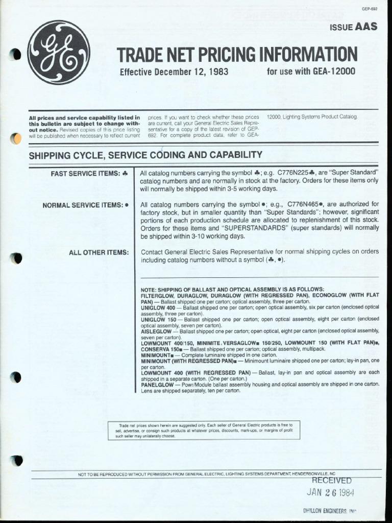 GE Lighting Systems Price Book - Trade Net 1983