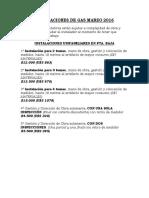 Listado de Precios Sugeridos Para Instalaciones de Gas