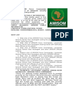 AMISOM Force Commander Assures Somalia of Adequate Security During the Electoral Process
