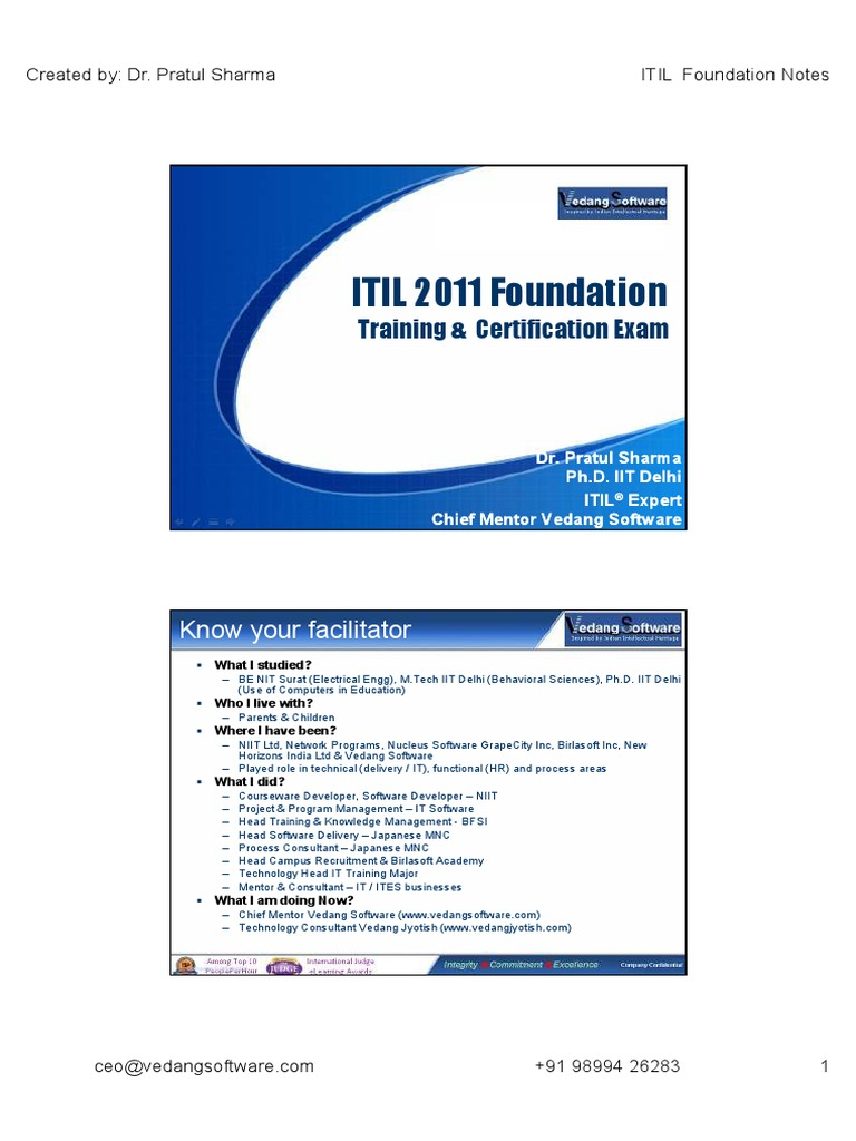 Itil 2011 Foundation Itil Accountability