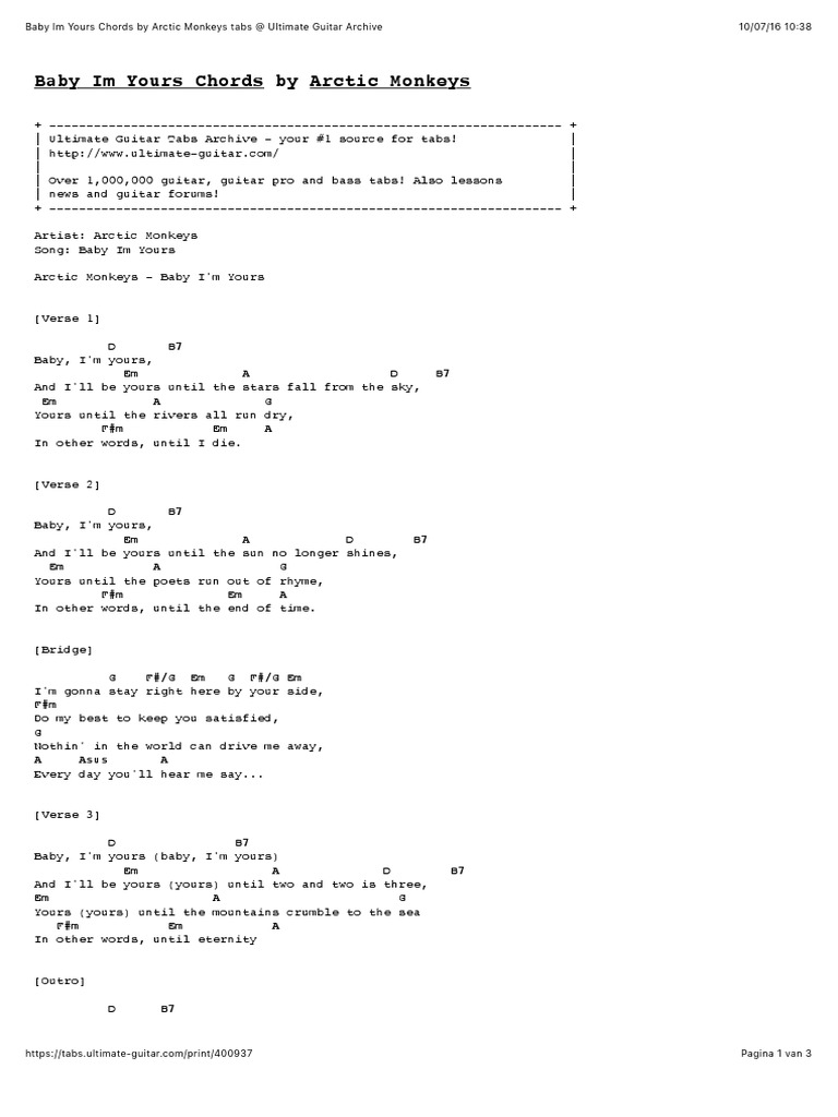 Baby Im Yours Chords by Arctic Monkeys   Musical Compositions ...