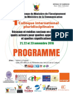 Programme of the 2016 International Pluridisciplinary Colloquium on Social Media