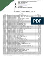 Liste de Prix Septembre 2016