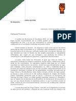 MAS solicitó a presidenta Michelle Bachelet impulsar un acuerdo nacional en Venezuela (Carta)