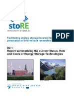 Report Summarizing the Current Status Role and Costs of Energy Storage Technologies