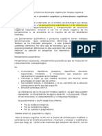 Resumen de Principios Teóricos de Terapia Cognitiva en Terapia Cognitiva