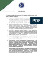 Comunicado de la Cámara Venezolana de la Construcción